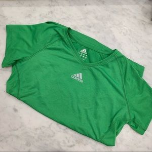 Green addidas short sleeved workout top